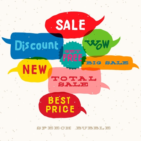 talk big: Sale Interactive multicolored speech bubbles Illustration