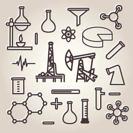 Black line minimalistic science icons set Stock Vector - 20198628