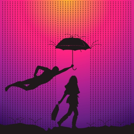 Man is protecting a women with umbrella Vector