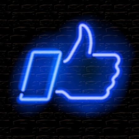illuminated wall: Neon Thumbs Up symbol on brick wall background Illustration