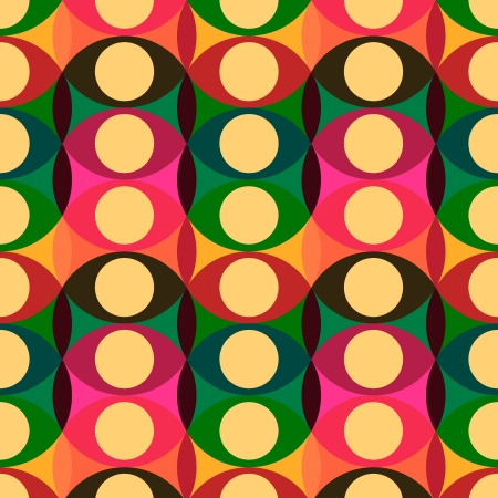seventies: Seamless red yellow circles pattern