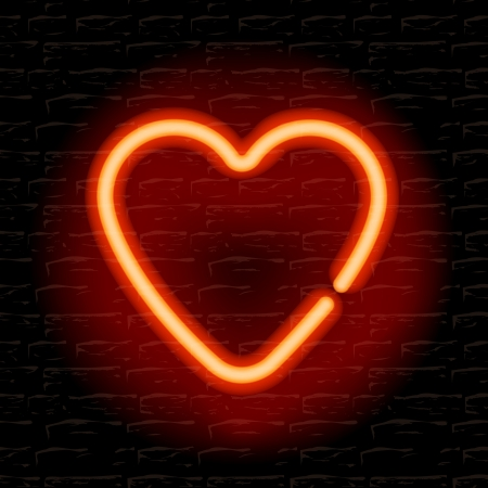 Neon heart on the brick wall Stock Vector - 20198714