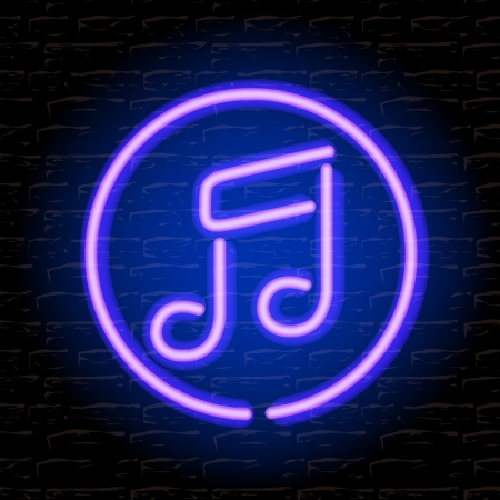 neon sign: Neon music note on the brick wall