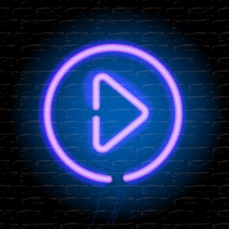 Neon music play button on the brick wall Stock Vector - 20198713