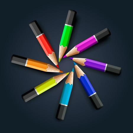 Colored pencils on grey background Stock Vector - 20198705