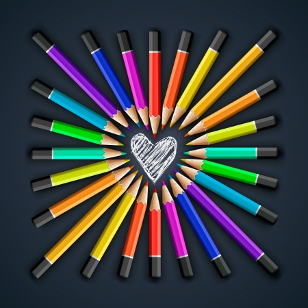 Colored pencils, heart shape Vector