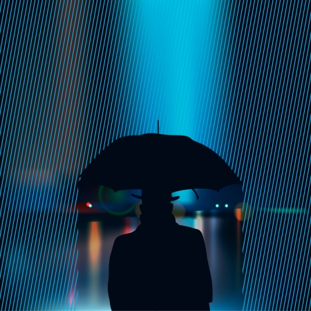 Silhouette of the man under umbrella Vector