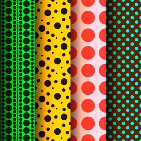 Seamless patterns, polka dots set Vector