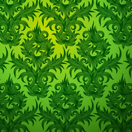 cannabis leaf: Damask green floral seamless pattern Illustration