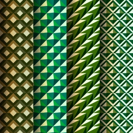 Set seamless geometrical patterns retro style Vector