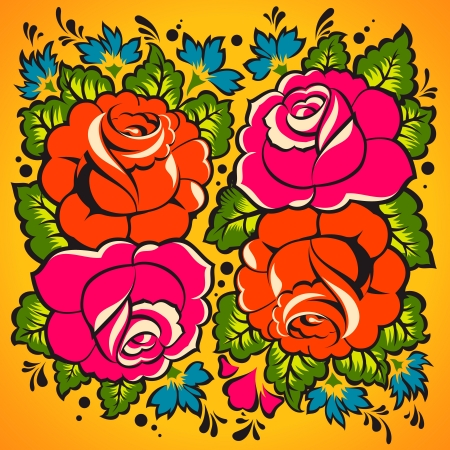 russian tradition: Floral Ornament in Russian tradition style
