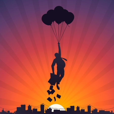 Business man flying on balloons to the sky Vector