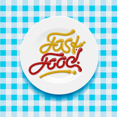 Fast food - made with yellow and red sauce Illustration