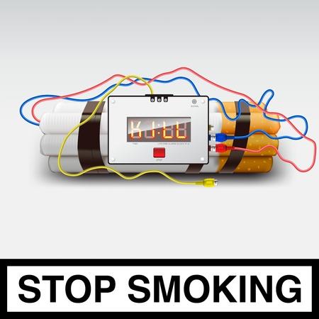sigaretta: Smettere di fumare - bomba sigaretta Vettoriali