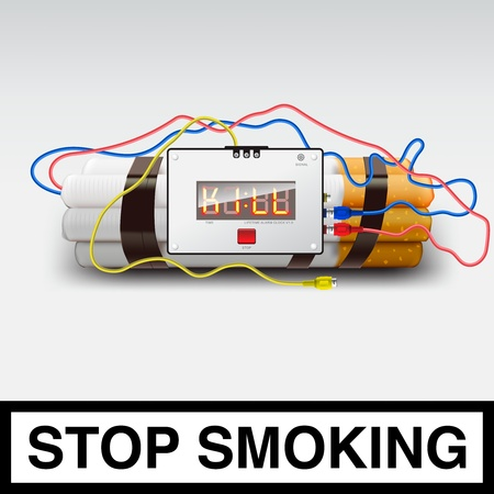 Stop smoking - cigarette bomb Vector