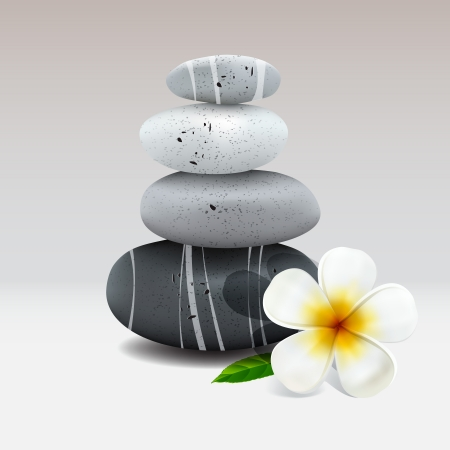 pebbles: Spa still life with frangipani flower Illustration