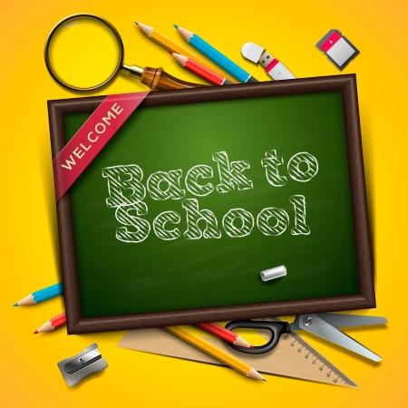 utiles escolares: Bienvenido de nuevo a la escuela Foto de archivo