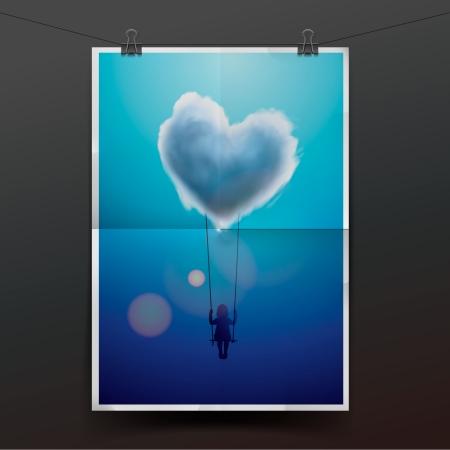under heart: Little girl on a swing under heart shape cloud Stock Photo