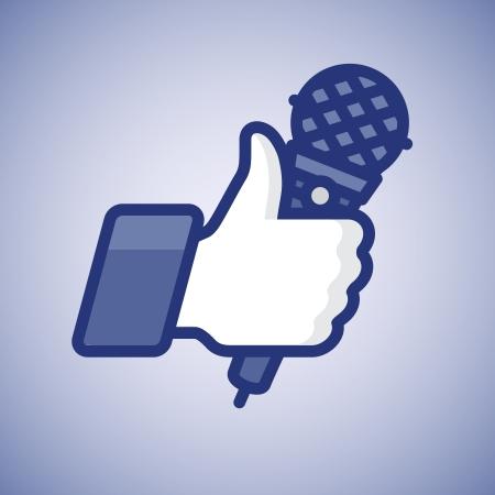 Karaoke Like Thumbs Up symbol icon with microphone Stock Photo