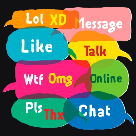 acronyms: Multicolored speech bubbles with most common used acronyms Stock Photo