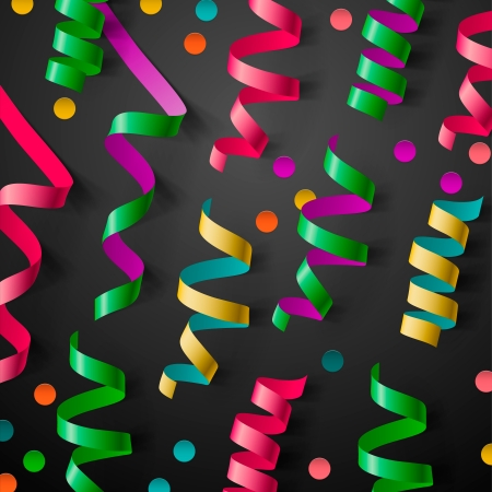 confetti background: Party design template with streamers and confetti