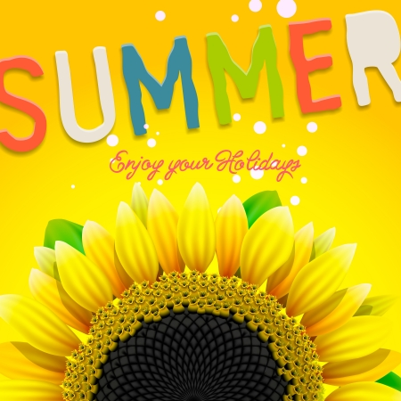 Floral summer background with sunflower photo