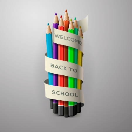 Colorful pencil crayons with text Back to school on ribbon Stock Photo - 20871743