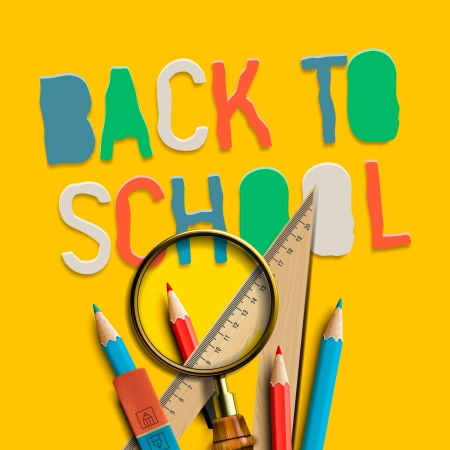 Welcome back to school on yellow background Stock Photo - 20871753