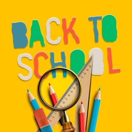 school life: Welcome back to school on yellow background