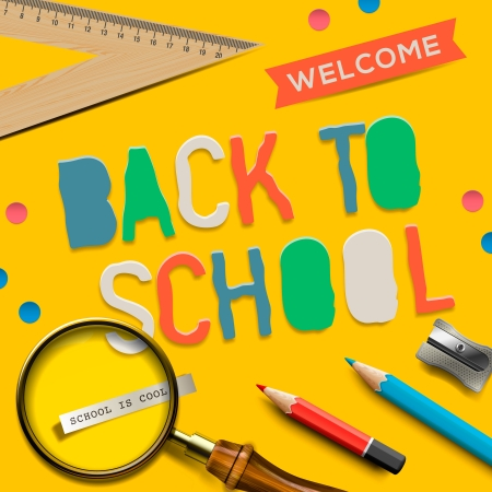 Welcome back to school on yellow background photo