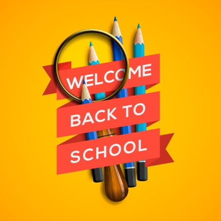 office stationery: Welcome back to school on yellow background