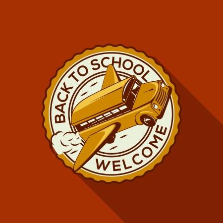 transporte escolar: Bienvenido de nuevo a la etiqueta de la escuela con autobús escolar