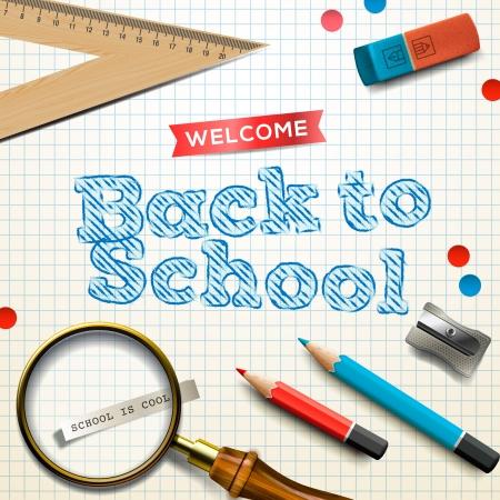 objetos escolares: Bienvenido de nuevo a la escuela, ilustraci�n vectorial.
