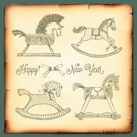 New Year card with rocking toys horses, vector image.