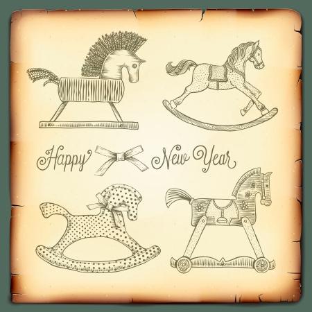 schommelpaard: Nieuwjaarskaart met rockende speelgoed paarden, vector afbeelding.