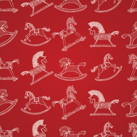 Christmas hand-drawn pattern with rocking horses, vector illustration. Vector