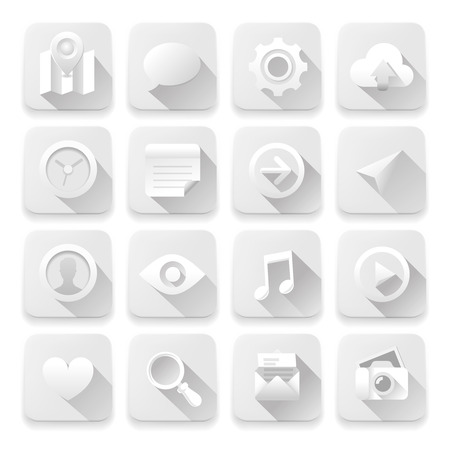 Vector eps10 illustration of white app buttons. Vector