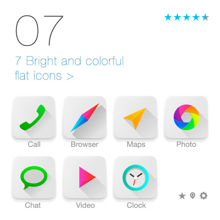 Colorful Flat icons for Web and Mobile Application, vector Eps10 illustration. Vector