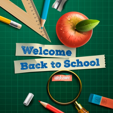 Welcome back to school, vector Eps10 illustration. Illustration