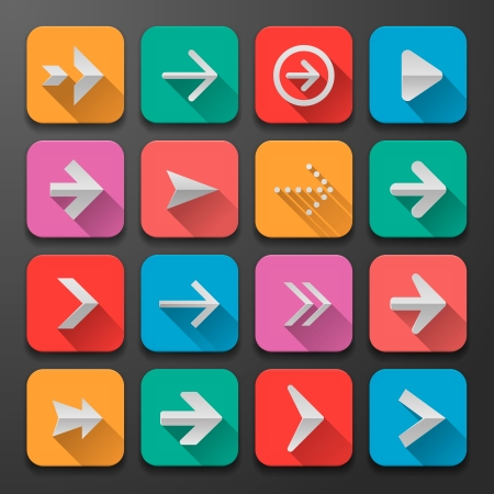 Set arrows flat icons, for webdesign, vector Eps10 illustration. Vector