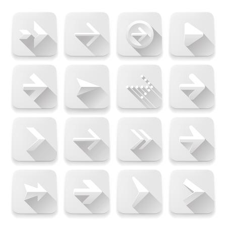 buttons web: Set arrows icons, vector Eps10 illustration of white app buttons, web design elements.