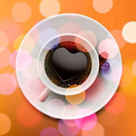 Cup of coffee, blurred background, vector Eps10 illustration. Vector