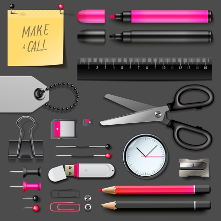 Set of office supplies, vector Eps10 illustration. Stock Vector - 22298726