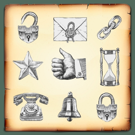 gravure: Web design elementi, stile rotocalco, eps10 vettoriale. Vettoriali