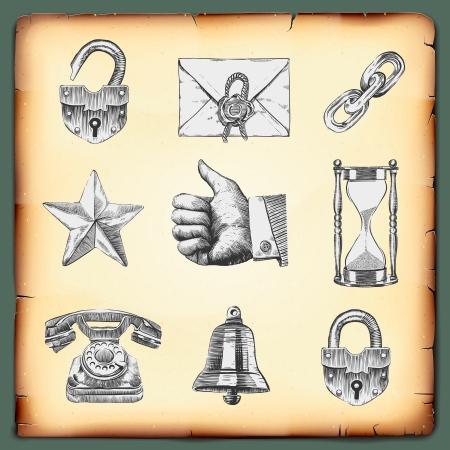 gravure: Web design elements, gravure style, vector Eps10 image. Illustration