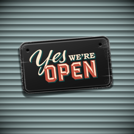open sign: We are Open Sign - vintage sign, vector Eps10 illustration.
