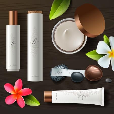 Spa naturel ensemble de cosmétiques, vecteur eps10.