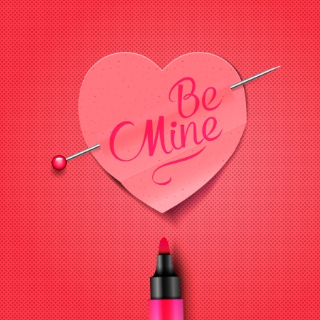 be mine: Be Mine - written by marker on red paper heart sticker, vector Eps10 illustration use for Valentines Day.