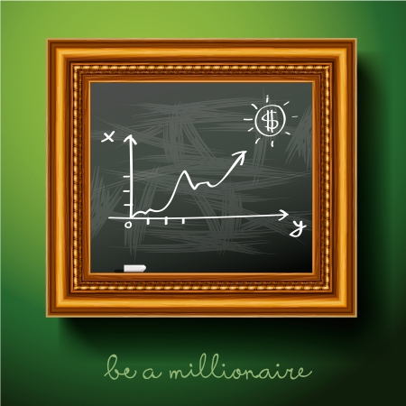 Graph of growth draw chalk on board, vector Eps10 illustration. Vector