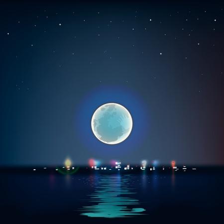 Luna azul llena sobre el agua fría noche, vector Eps10 ilustración.